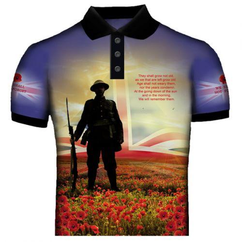 Blue British Remembrance Polo Shirt
