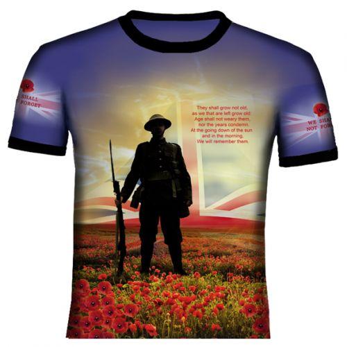 Blue British Remembrance T Shirt